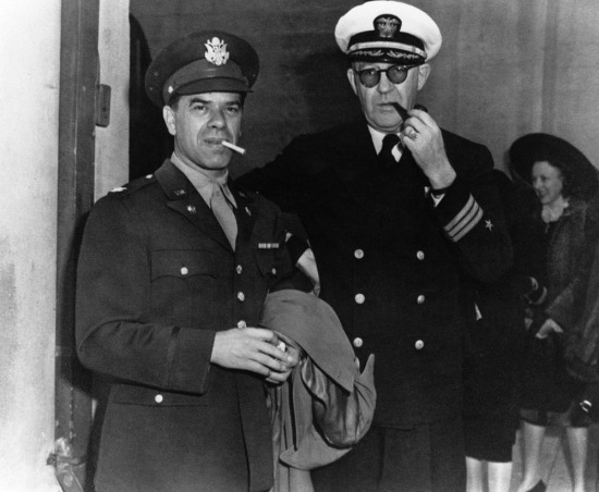 "An Oscar statuette earned by Frank Capra's 1942 documentary ""Prelude to War,"" the first film in the United States Army Special Services' seven-picture ""Why We Fight"" series, has been removed from the auction block and was returned to the care of the U.S. Army.  Pictured: Frank Capra and John Ford during World War  Two"