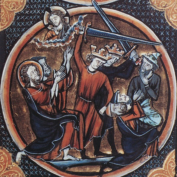 Two Jews, kneeling at right, about to be put to death by the sword as revenge for the death of Jesus, who looks on at top left. Manuscript illumination, c1250, from a French Bible. PHOTO: THE GRANGER COLLECTION