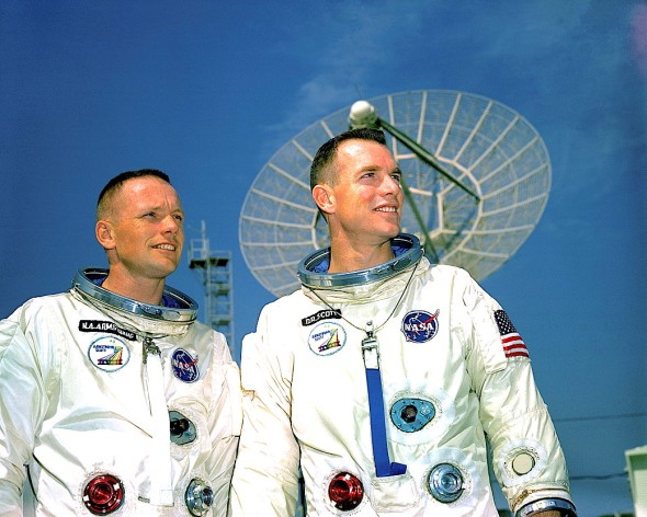 Neil Armstrong (left) and Dave Scott sought to fulfil many of the objectives needed to reach the Moon, including orbital rendezvous and docking. They were the only Gemini crew whose two members both walked on the Moon later in their careers. Photo Credit: NASA