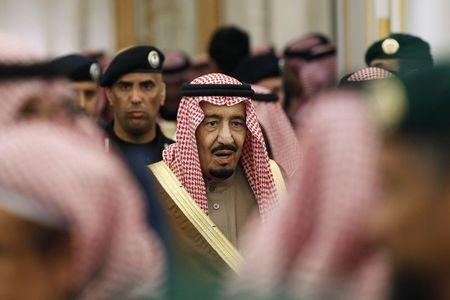 New Saudi King Salman attends a ceremony following the death of the late Saudi King at the Diwan royal palace in Riyadh