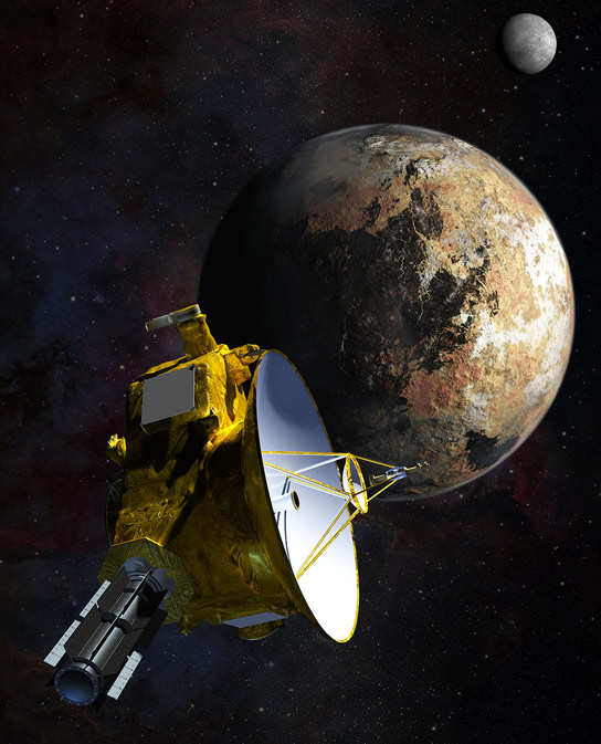 Artist's concept of NASA's New Horizons spacecraft as it passes Pluto and Pluto's largest moon, Charon, in July 2015.