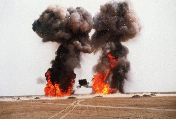 An image from the 1990s showing the destruction of Iraqi nerve-agent weapons. Credit UNSCOM