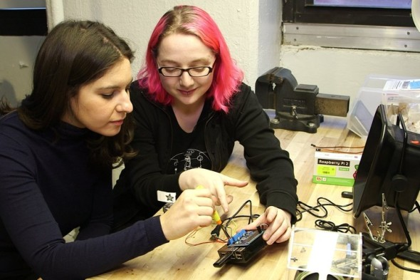 With the help of Limor Fried, the founder of Adafruit, Joanna Stern turned the Pi into small robot. PHOTO: DREW EVANS/THE WALL STREET JOURNAL