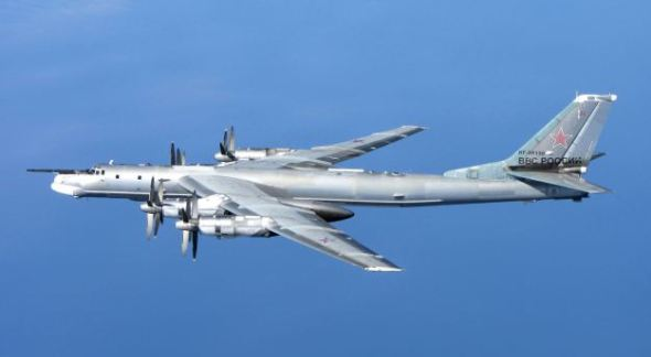 A Russian Tupolev Tu-95 Bear 'H' off the coast of Scotland in 2014. UK Royal Air Force Photo