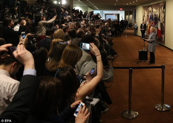 Her first public words about 'email-gate' attracted a crush of reporters at the United Nations