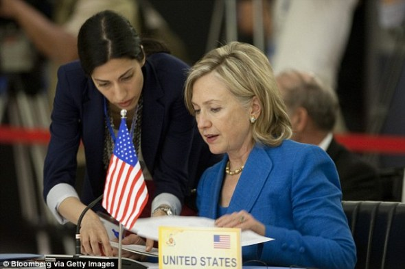 Abedin (left), shown with then-Secretary of State Clinton during a 2010 diplomatic meeting in Vietnam, was her deputy chief of staff and is expected to play a key roll if Clinton runs for presiden