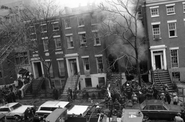 The scene where a Weather Underground bomb exploded prematurely inside a town house in Greenwich Village.Photo: AP