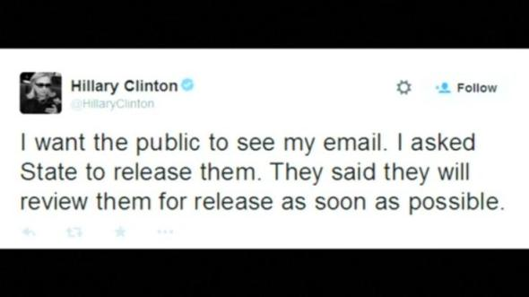 """I want the public to see my email"", tweets Hillary Clinton"