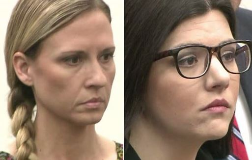 From left, Melody Suzanne Lippert, 38, of Covina, and Michelle Louise Ghirelli, 30, of West Covina entered not guilty pleas in court in Newport Beach to charges filed in connection with a camping trip at San Clemente State Beach with five male high school students. (Photo: KTLA/Los Angeles)