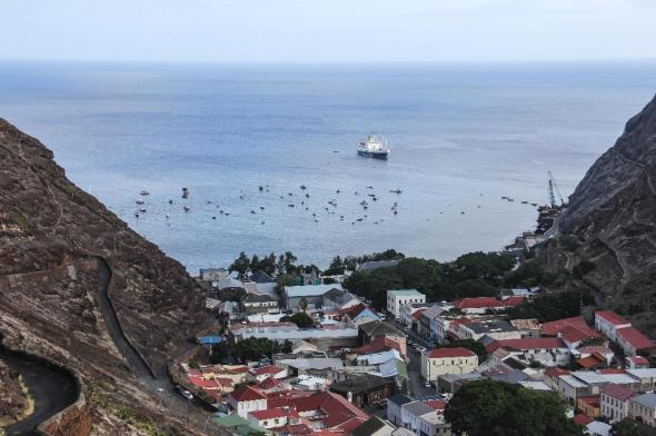 The RMS Saint Helena anchored in the bay of the South Atlantic island of Saint Helena off the coast from Jamestown (AFP Photo/Jean Liou)