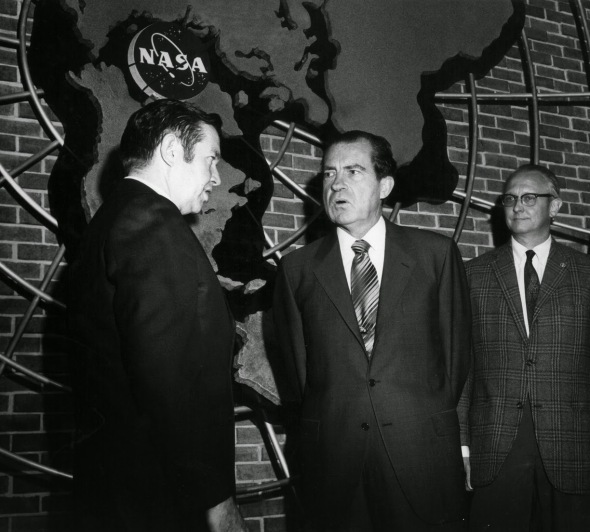 Then-Goddard Center Director John Clark greets President Richard Nixon, who visited the center for an Apollo 13 briefing on April 14, 1970. At right is Henry Thompson, deputy director of manned flight support at Goddard. Image Credit: NASA's Goddard Space Flight Center.