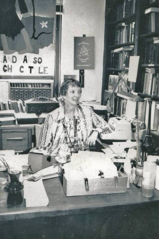 Madeleine L'Engle in her office at the Cathedral of Saint John the Divine in New York City, 1977Photo: Crosswicks, Ltd.