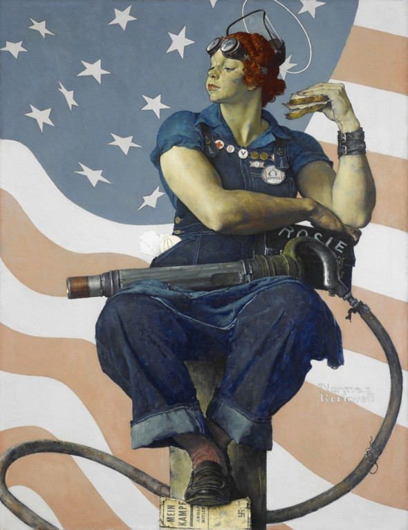 "The 1943 oil on canvas painting ""Rosie the Riveter"" by Norman Rockwell is displayed in Bentonville, Ark. (Crystal Bridges Museum of American Art/AP"