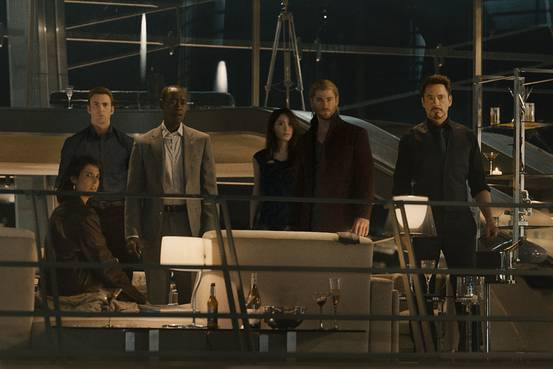 From left, Cobie Smulders, Chris Evans, Don Cheadle, Claudia Kim, Chris Hemsworth and Robert Downey Jr. -  Marvel