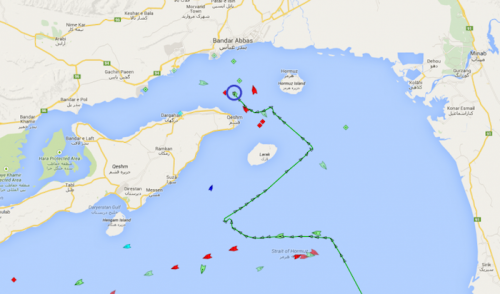 Map depicting the MV Maersk Tigris' original path toward the UAE and diversion after being intercepted by the IRGCN. (Source: marinetraffic.com)