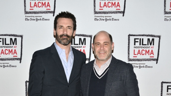 LOS ANGELES, CA - MARCH 26:  Jon Hamm and Matthew Weiner attend the Film Independent at LACMA presents A Tribute To Mad Men: Part One at Bing Theatre At LACMA on March 26, 2015 in Los Angeles, California.  (Photo by Araya Diaz/WireImage)