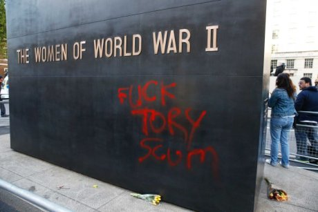 Anti-Tory graffiti was sprayed on to a war memorial in central London. Reuters: Phil Noble