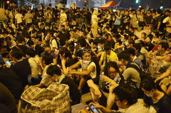 Last year's pro-denmocracy protests in Hong Kong were led by students, here seen gathered in front of the offices of Chief Executive Leung Chun-ying on Oct. 2.Photo: Zuma Press