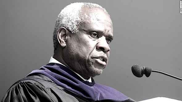 Supreme Court Justice Clarence Thomas give the commencement speech to the 2008 graduation class of High Point University Saturday, May 3, 2008 in High Point, N.C. (AP Photo/Jim R. Bounds)