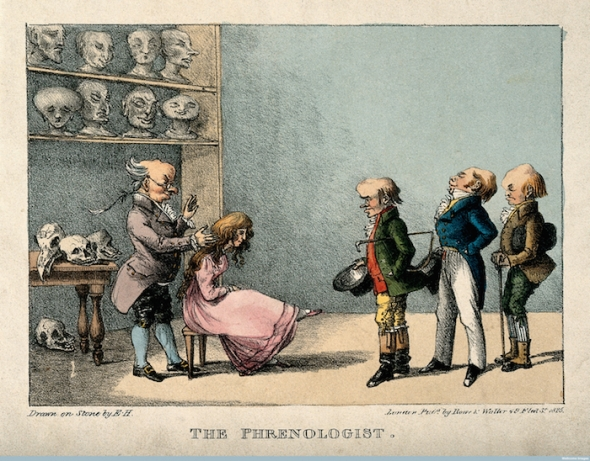ranz Joseph Gall examining the head of a pretty young girl, Credit: Wellcome Library, London. Wellcome Images images@wellcome.ac.uk http://wellcomeimages.org Franz Joseph Gall examining the head of a pretty young girl, while three gentlemen wait in line. Coloured lithograph by E.H., 1825. 1825 By: E. H.Published: 1825