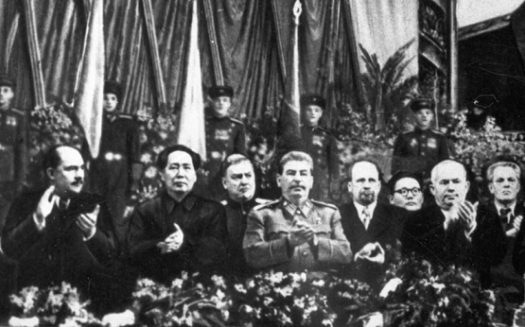From left: LM Kaganovich, Chairman Mao Tse-tung, NA Bulganin, Joseph Stalin, Walter Ulbricht, J cedenbal, NS Khrushchev and I Koplenig (Getty)