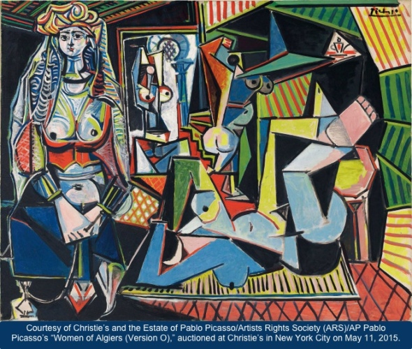 "This undated photo provided by Christie's, courtesy of the Estate of Pablo Picasso/Artists Rights Society (ARS), New York, shows Pablo Picasso's ""Women of Algiers (Version O),"" which is being offered for sale at Christie's in New York on May 11, 2015, as part of New York City's spring art auctions. The 1955 masterpiece, estimated to bring more than $140 million, is poised to become the most expensive artwork sold at auction. (2015 Estate of Pablo Picasso/Artists Rights Society (ARS), New York/Christie's via AP)"