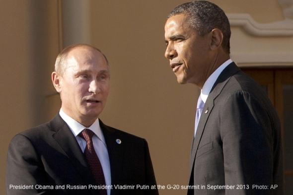 FILE - In this Sept. 5, 2013 file photo, President Barack Obama shakes hands with Russian President Vladimir Putin during arrivals for the G-20 summit at the Konstantin Palace in St. Petersburg, Russia, Thursday, Sept. 5, 2013.   Congress is stepping up pressure on the White House to confront Russia over allegations that it is cheating on a key nuclear arms treaty, a faceoff that could further strain U.S.-Moscow relations and dampen President Barack Obama's hopes to add deeper cuts in nuclear arsenals to his legacy.  (AP Photo/Pablo Martinez Monsivais)