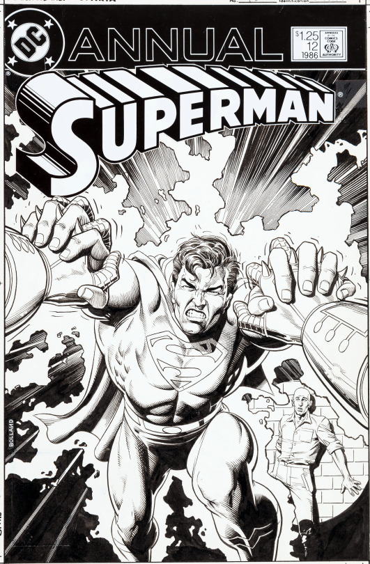 Superman Comic Book White Cover : Original cover art by brian bolland from superman annual