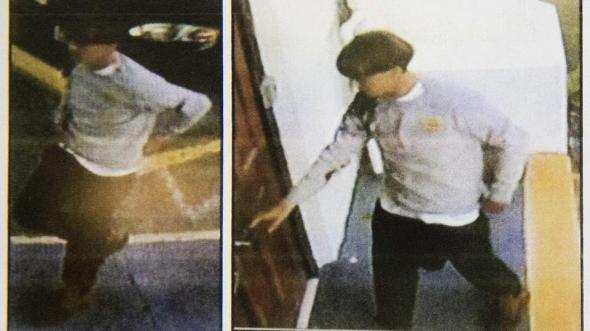 Images on a flier provided to media, Thursday, June 18, 2015, by the Charleston Police Department show surveillance footage of a suspect wanted in connection with a shooting Wednesday at Emanuel AME Church in Charleston, S.C. (Charleston Police Department via AP)