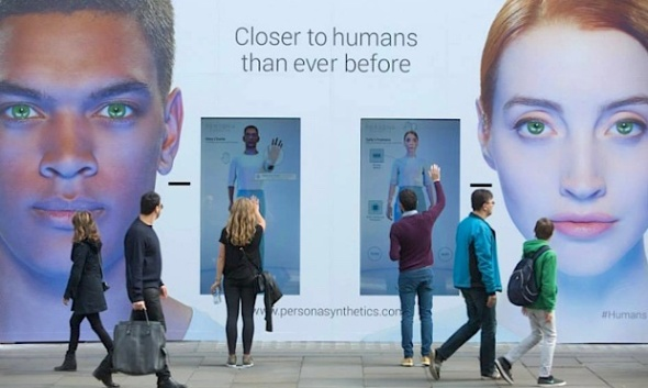 The fictional Persona Synthetics shop selling 'synths'. Channel 4 drama, Humans, creates a future where families buy human-like robots - synths, that help them with a variety of tasks from household chores to doing homework. Photograph: Persona Synthetics/Channel 4