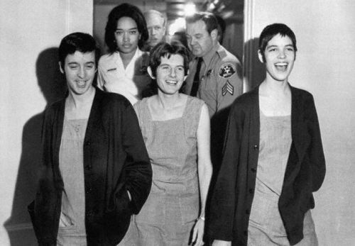 29 Mar 1971, Los Angeles, California, USA --- Susan Denise Atkins, (left), Patricia Krenwinkel and Leslie Van Houten,(right), laugh after receiving the death sentence for their part in the Tate-LaBianca killing at the order of Charles Manson. --- Image by © Bettmann/CORBIS