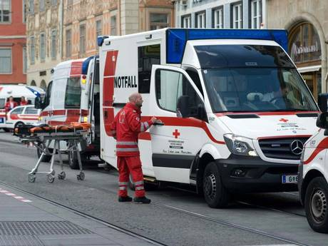 Paramedics at the scene where an SUV drove into pedestrians in the city center of Graz, Austria