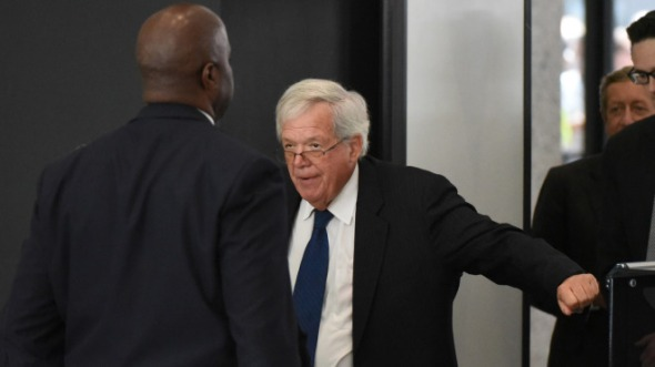 "CHICAGO, IL - JUNE 9: Former Republican Speaker of the House Dennis Hastert arrives for his arraignment at the Dirksen Federal Courthouse on June 9, 2015 in Chicago, Illinois. Hastert was in court to answer charges that he knowingly lied to the FBI and intentionally evaded federal reporting requirements involving bank transactions. Hastert is alleged to have withdrawn more than $1.5 million dollars in several installments from bank accounts to make payments to an ""Individual A"" to cover-up sexual abuse that reportedly took place when Hastert was a teacher and wrestling coach at Yorkville High School. Since Hastert was charged, other reports of sexual abuse by Hastert have surfaced.  (Photo by David Banks/Getty Images)"