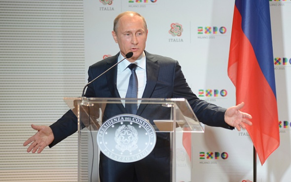 Vladimir Putin speaking in Milan this month