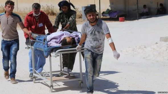 The injured have been brought to hospital in Kobane