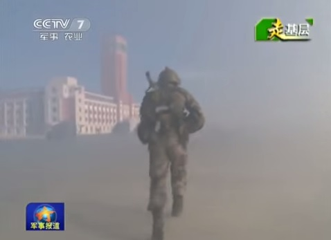 A screenshot of the CCTV report, which shows soldiers storming a structure that bears a resemblance to Taiwan's presidential palace. youtube.com