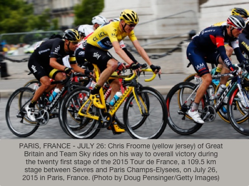 PARIS, FRANCE - JULY 26:  Chris Froome (yellow jersey) of Great Britain and Team Sky rides on his way to overall victory during the twenty first stage of the 2015 Tour de France, a 109.5 km stage between Sevres and Paris Champs-Elysees, on July 26, 2015 in Paris, France.  (Photo by Doug Pensinger/Getty Images)