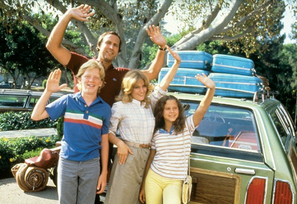 From left: Anthony Michael Hall, Chase, Beverly D'Angelo and Dana Barron, the original Griswolds from 1983's National Lampoon's Vacation, based on a Hughes magazine story from 1979.
