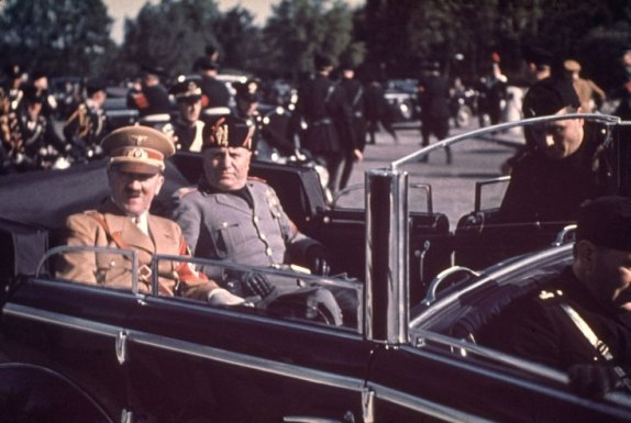 01 Adolf Hitler and Benito Mussolini during Hitler's 1938 state visit to Italy