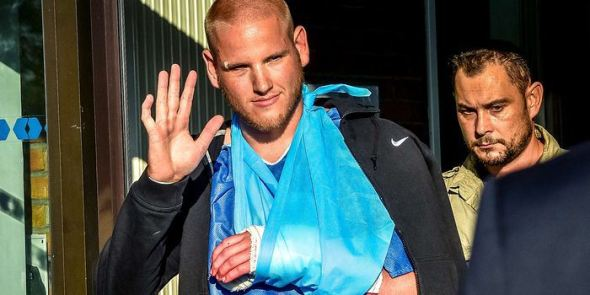 Airman First Class Spencer Stone, left, one of the American men who overpowered the gunman on a high-speed train, gestures as he left the hospital in Lesquin, France, on Saturday. Photo: PHILIPPE HUGUEN/AGENCE FRANCE-PRESS/GETTY IMAGES