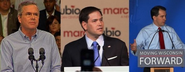 A trio of Republican establishment favorites -- Jeb Bush, Scott Walker and Marco Rubio -- are all losing ground in the party's 2016 presidential field, a new August, 2015 Fox News poll shows.