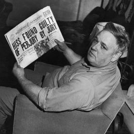 23 Jan 1950, Westminster, Maryland, USA --- Whittaker Chambers, former $30,000-a-year editor of a national magazine and prime accuser of Alger Hiss, is shown reading the headline that told of the conviction of Hiss on charges of perjury. Chambers was on his Westminster farm when the news came from New York. He showed no jubilation, merely pointing out that prosecutor Murphy and the FBI had done the real work. --- Image by © Bettmann/CORBIS