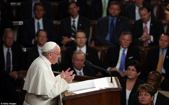 Francis's address was heard by an audience of several hundred, including lawmakers, Supreme Court justices and presidential candidates