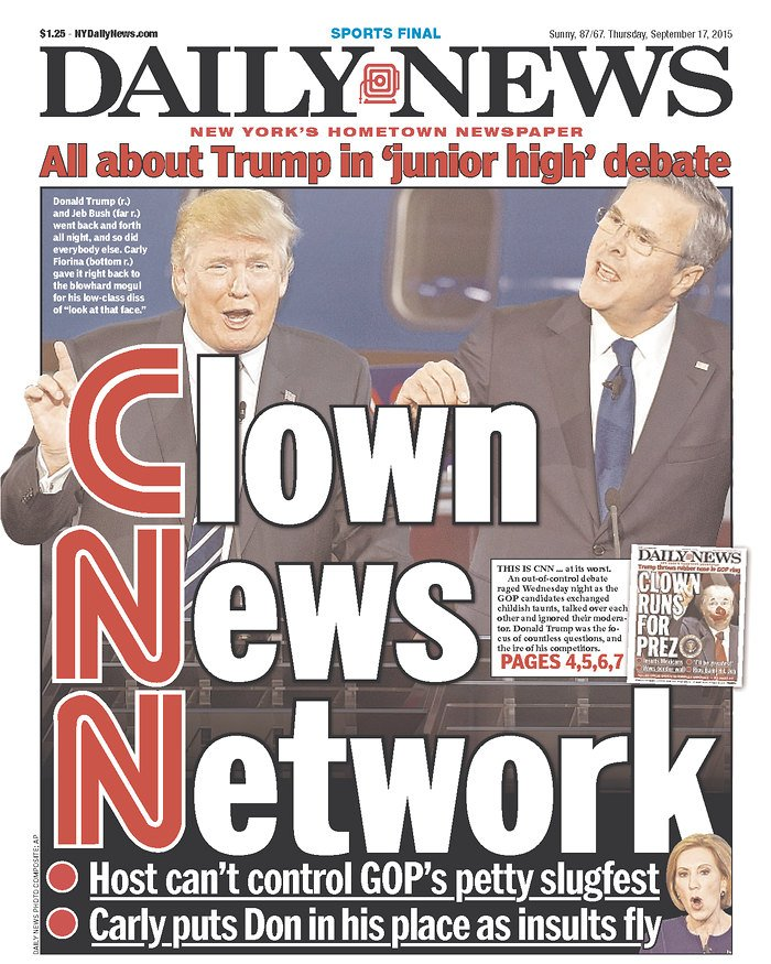 New York Daily News Cover: 'CLOWN NEWS NETWORK': New York Daily News Cover For