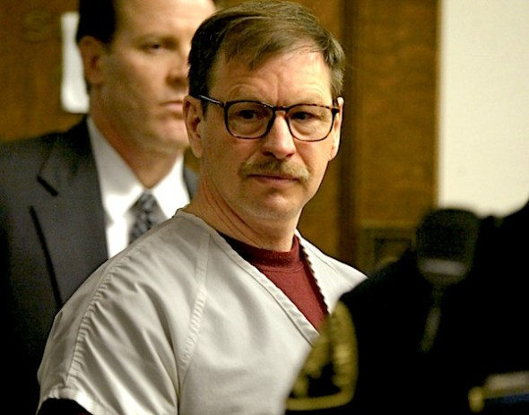 EATTLE - DECEMBER 18: Gary Ridgway prepares to leave the courtroom where he was sentenced in King County Washington Superior Court December 18, 2003 in Seattle, Washington. Ridgway received 48 life sentences, with out the possibility of parole, for killing 48 women over the past 20 years in the Green River Killer serial murder case. (Photo by Josh Trujillo-Pool/Getty Images)