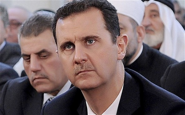 "President Bashar al-Assad claimed the British Government is ""determined to militarise the problem"" in Syria"