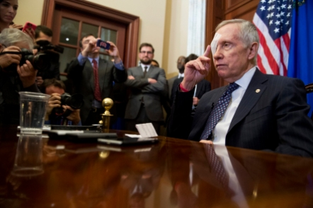 Reid, D-Nev., conducts his first news conference in the Capitol, January 22, 2015, since injuring himself in a exercise accident. (Photo By Tom Williams/CQ Roll Call)