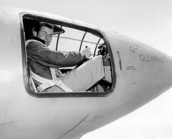 Capt. Charles E. Yeager is in the cockpit of the Bell X-1 supersonic research aircraft. He became the first man to fly faster than the speed of sound in level flight on October 14, 1947. (Courtesy photo)