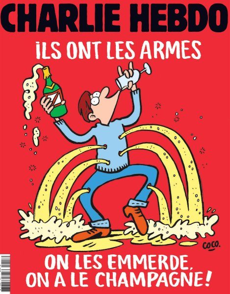 "This handout image obtained from French Satirical magazine Charlie Hebdo on November 17, 2015 shows the cover of the latest edition of the magazine which features its satirical take on the November 13, 2015 terror attack in Paris in which at least 129 people were killed, and a headline which translates as ""They are armed, Fuck them, We have Champagne"". ì RESTRICTED TO EDITORIAL USE - MANDATORY CREDIT "" AFP PHOTO / CHARLIE HEBDO"" - NO MARKETING NO ADVERTISING CAMPAIGNS - DISTRIBUTED AS A SERVICE TO CLIENTS î"