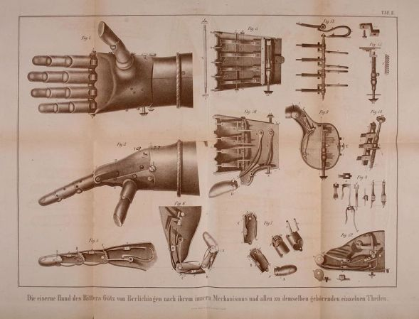 A 19th-century engraving shows the inner workings of the second iron hand. (Image: Christian von Mechel/Wikipedia)